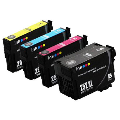 Set of 4 High Yield Ink Cartridges for Epson 252XL: 1 Each of Black, Cyan,  Magenta, & Yellow