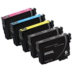 Epson T200- Epson T200XL120 (T200XL) BCYM Ink Set for Expression XP-200 XP-300 XP-310 XP-400 XP-410 Cartridges,5 Set ,Remanufactured