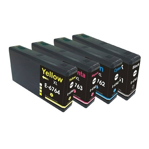 INK4WORK 5-Pack Remanufactured Ink Cartridge Replacement for Epson 676XL T676XL 676 XL for use with Workforce Pro WP-4010 WP-4020 WP-4023 WP-4090 WP-4520 WP-4590 Black x2, Cyan, Magenta, Yellow