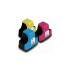 HP 02 Remanufactured  Set of 3 Ink Cartridges: 1 each of HP02 C/M/Y