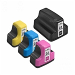 HP 02 Remanufactured  Set of 4 Ink Cartridges: 1 each of HP02 K/C/M/Y