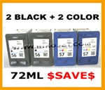 HP 4 PACK 2XHP#56(C6656AN) + 2X HP#57(C6657AN) BLACK & COLOR Remanufactured  Ink Cartridges