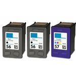 3 Pack 2x HP#56 (C6656AN) + HP#57 (C6657AN) BLACK & COLOR INK CARTRIDGES / REMANUFACTURED