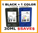 HP#27 (C8727AN) + HP#28 (C8728AN) BLACK & COLOR  Remanufactured  Ink Cartridges