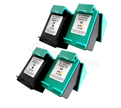 HP 4 PACK 2X HP#92 (C9362WN) + 2X HP#93 (C9361WN) BLACK & COLOR Remanufactured  Ink Cartridges