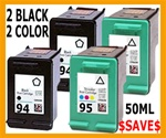 HP Inkjet Cartridges 4 PACK HP 94 (C8765WN) + HP 95 (C8766WN)  Remanufactured
