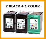 HP Inkjet Cartridges 3 PACK HP 94 (C8765WN) + HP 95 (C8766WN)  Remanufactured