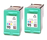 2 PACK HP#95 (C8766WN) COLOR Remanufactured Ink Cartridges