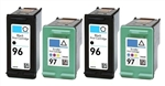 HP Inkjet Cartridges 4 Pack Combo, HP 96 Black (C8767WN) & HP 97 Color (C9363WN) Remanufactured