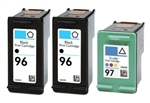 HP Inkjet Cartridges 3 Pack Combo, HP 96 Black (C8767WN) & HP 97 Color (C9363WN) Remanufactured