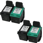 HP Inkjet Cartridges Combo, 4 Pack HP 98 (C9364WN)+HP 95(C9366WN) Remanufactured