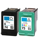 Combo Pack HP 74 (CB335WN) + HP 75 (CB337WN) BLACK & COLOR refurbished Ink Cartridges