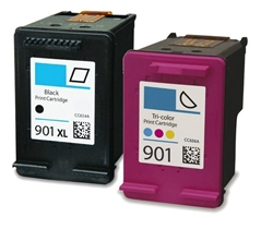 Combo Pack HP#901XL Black (CC654AN) + HP#901 Color (CC656AN) Remanufactured Ink Cartridges