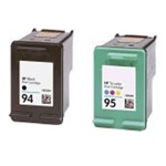 HP Inkjet Cartridges, 2 PACK HP 94 Black (C8765WN) + HP 95 Color (C8766WN)  Remanufactured