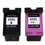 Combo Pack HP#63XL Black (F6U64AN) + HP#63XL Color (F6U63AN) Remanufactured Ink Cartridges