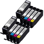Canon PGI-270XL & CLI-271XL Remanufactured  Set of 10 Ink Cartridges: 2 Pigment Black PGI270XL, 2 each of CLI271XL B/C/M/Y