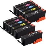 Canon PGI250 & CLI251 Remanufactured  Set of 11 Ink Cartridges: 3 Pigment Black PGI250, 2 each of CLI251 B/C/M/Y