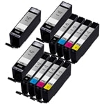 Canon PGI-270XL & CLI-271XL Remanufactured  Set of 11 Ink Cartridges: 3 Pigment Black PGI270XL, 2 each of CLI271XL B/C/M/Y