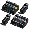 Canon PGI225 & CLI226 Remanufactured  Set of 12 Ink Cartridges: 4 Pigment Black PGI225, 2 each of CLI226 B/C/M/Y