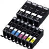Canon PGI250 & CLI251 Remanufactured  Set of 12 Ink Cartridges: 4 Pigment Black PGI250, 2 each of CLI251 B/C/M/Y