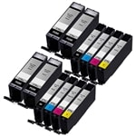 Canon PGI-270XL & CLI-271XL Remanufactured  Set of 12 Ink Cartridges: 4 Pigment Black PGI270XL, 2 each of CLI271XL B/C/M/Y