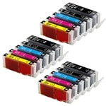 Canon PGI-270XL & CLI-271XL Remanufactured  Set of 15 Ink Cartridges: 3 Pigment Black PGI270XL, 3 each of CLI271XL B/C/M/Y