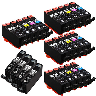 Canon PGI225 & CLI226 Remanufactured  Set of 24 Ink Cartridges: 4 Pigment Black PGI225, 4 each of CLI226 B/C/M/Y/G