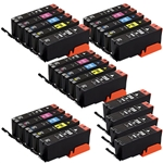 Canon PGI250 & CLI251 Remanufactured  Set of 24 Ink Cartridges: 8 Pigment Black PGI250, 4 each of CLI251 B/C/M/Y