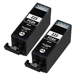 2 Pack Canon PGI-225 Pigment Black Remanufactured  Inkjet Cartridge W/ Chip