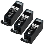 3 Pack Canon PGI-225 Pigment Black Remanufactured  Inkjet Cartridge W/ Chip