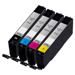 Canon CLI-271XL Remanufactured  Set of 4 Ink Cartridges: 1 each of CLI271XL B/C/M/Y