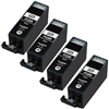 4 Pack Canon PGI-225 Pigment Black Remanufactured  Inkjet Cartridge W/ Chip