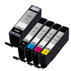 Canon PGI-270XL & CLI-271XL Remanufactured  Set of 5 Ink Cartridges: 1 Pigment Black PGI270XL, 1 each of CLI271XL B/C/M/Y