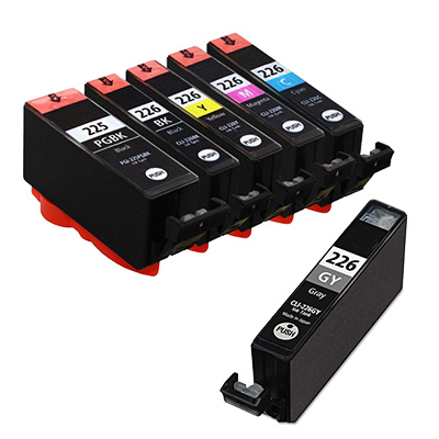 Canon PGI225 & CLI226 Remanufactured  Set of 6 Ink Cartridges: 1 Pigment Black PGI225, 1 each of CLI226 B/C/M/Y/GY