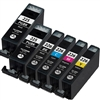 Canon PGI225 & CLI226 Remanufactured  Set of 6 Ink Cartridges: 2 Pigment Black PGI225, 1 each of CLI226 B/C/M/Y