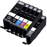 Canon PGI250 & CLI251 Remanufactured  Set of 6 Ink Cartridges: 1 Pigment Black PGI250, 1 each of CLI251 B/C/M/Y/GR