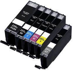 Canon PGI250 & CLI251 Compatible  Set of 6 Ink Cartridges: 1 Pigment Black PGI250, 1 each of CLI251 B/C/M/Y/GR
