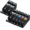 Canon PGI225 & CLI226 Remanufactured  Set of 7 Ink Cartridges: 3 Pigment Black PGI225, 1 each of CLI226 B/C/M/Y