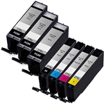 Canon PGI-270XL & CLI-271XL Remanufactured  Set of 7 Ink Cartridges: 3 Pigment Black PGI270XL, 1 each of CLI271XL B/C/M/Y