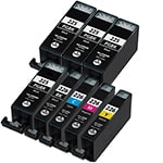 Canon PGI225 & CLI226 Remanufactured  Set of 8 Ink Cartridges: 4 Pigment Black PGI225, 1 each of CLI226 B/C/M/Y