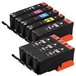 Canon PGI250 & CLI251 Remanufactured  Set of 8 Ink Cartridges: 4 Pigment Black PGI250, 1 each of CLI251 B/C/M/Y