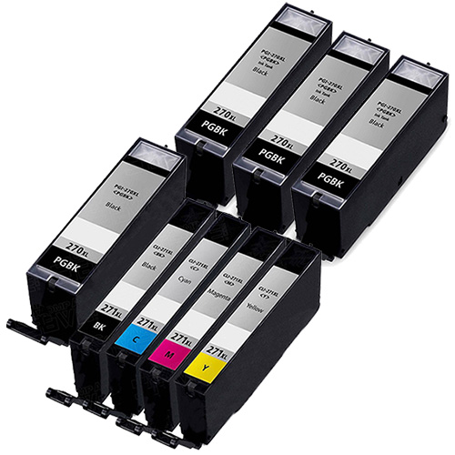 Canon PGI-270XL & CLI-271XL Remanufactured  Set of 4 Ink Cartridges: 4 Pigment Black PGI270XL, 1 each of CLI271XL B/C/M/Y