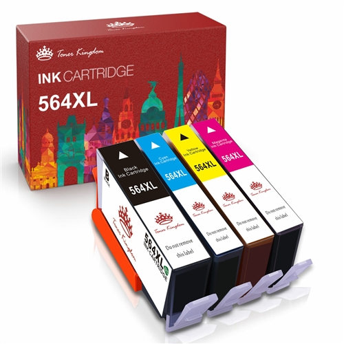 HP 564 XL Remanufactured Ink Cartridges, 4 Color Pack, For HP Photosmart,  Deskjet, OfficeJet Printers