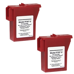 2 Pack Pitney Bowes 797-M, Remanufactured  Red Ink Cartridge