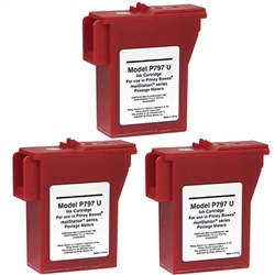 3 Pack Pitney Bowes 797-M, Remanufactured  Red Ink Cartridge