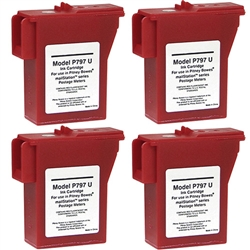 4 Pack Pitney Bowes 797-M, Remanufactured  Red Ink Cartridge
