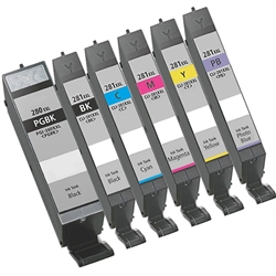 Canon PGI-280XXL CLI-281XXL Ink Cartridges  Combo, 6 Pack Compatible Cartridges With Level Chip.