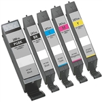 Canon PGI-2280XXL CLI-281XXL Ink Cartridges  Combo, 5 Pack Compatible Cartridges With Level Chip.