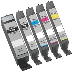 Canon PGI-2280XXL CLI-281XXL Ink Cartridges  Combo, 5 Pack Remanufactured Cartridges With Level Chip.