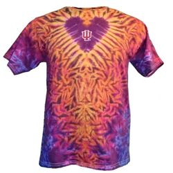 "Spectacular Indiana Fire Heart ""I Love IU"" Tie Dye T-Shirt"